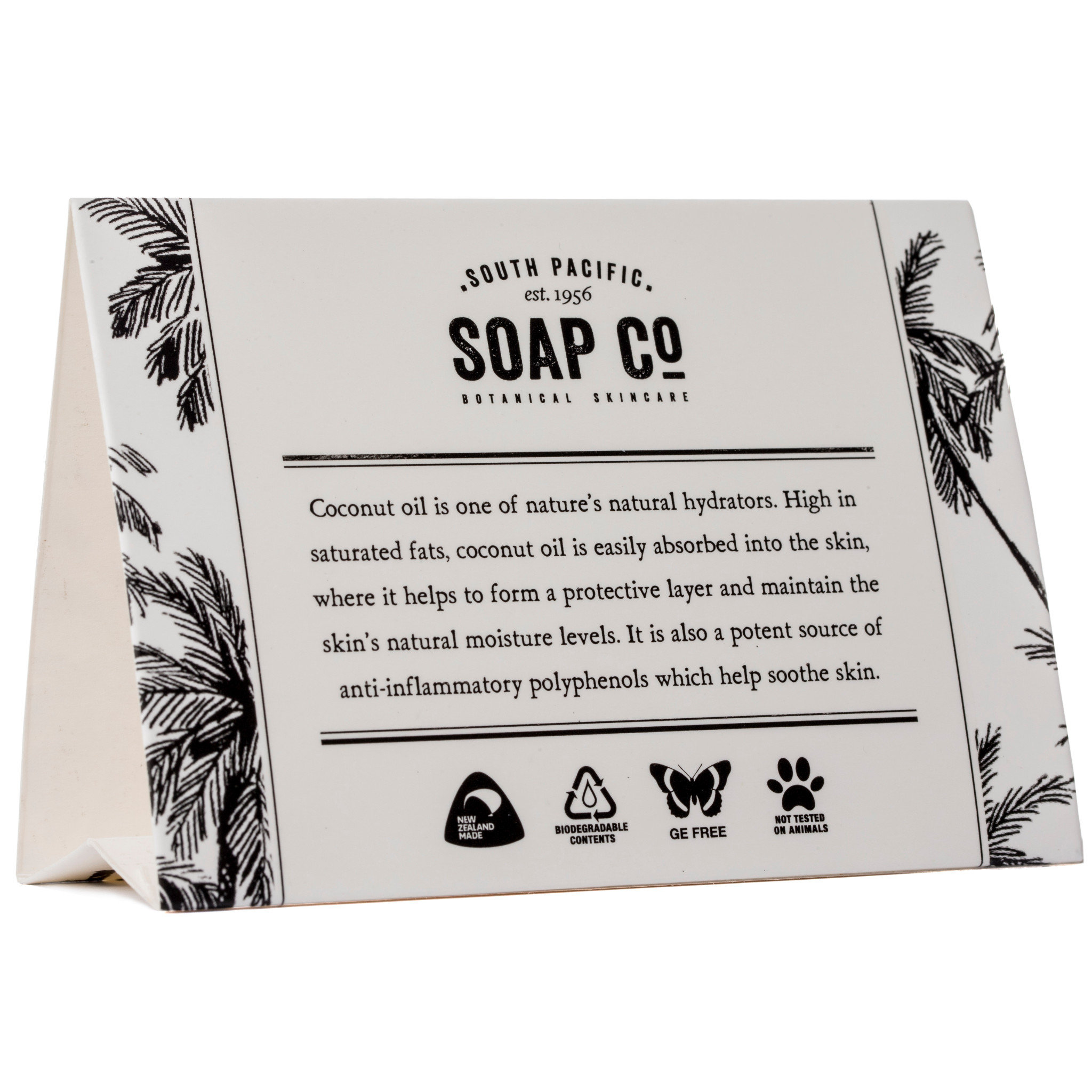 South Pacific Soap Co Environmental Tent Card