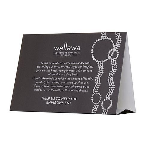 Wallawa Environmental Tent Card National Hotel Supplies